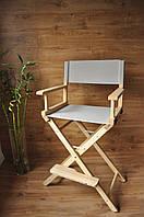 Кресло визажиста, стул складной,деревянный. Натуральные ножки серая ткань