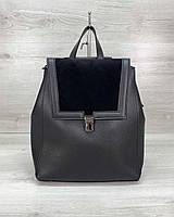Сумка рюкзак «Луї» з замшем чорний, фото 1