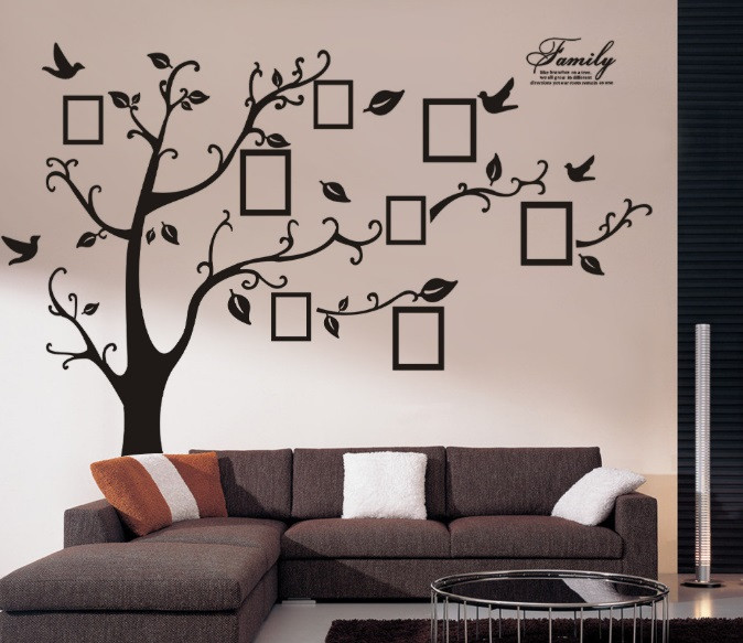 Декоративная  наклейка стикер Семейное дерево с фоторамками  (250х180см)