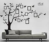 Декоративная  наклейка стикер Семейное дерево с фоторамками  (250х180см), фото 2