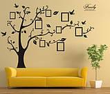 Декоративная  наклейка стикер Семейное дерево с фоторамками  (250х180см), фото 5