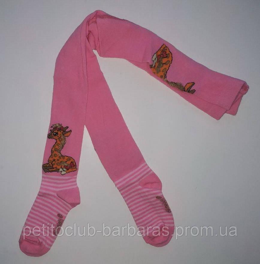 Детские хлопковые колготы с объемным 3D рисунком Жираф темно-розовые (DeMelatti, Турция)