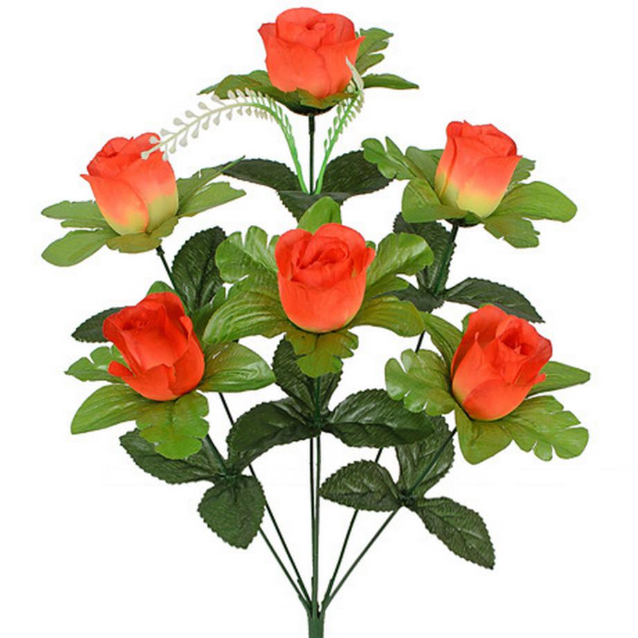 Искусственные цветы букет розы в бутоне, 50см (20 шт. в уп)