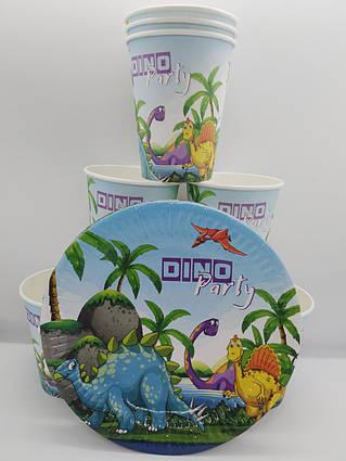 Набор праздничной одноразовой посуды  Динозавры  8 стаканов, 8 тарелок