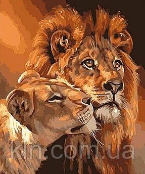 Алмазна вишивка на підрамнику 40 х 50 см Лев і левиця (арт. TN952)