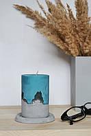 Свеча из соевого воска на бетонной основе с подставкой