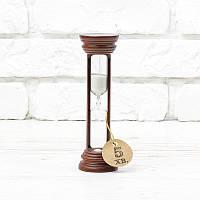 Часы песочные на 5 мин тип 4 исп. 19 Ø50; h=160 мм основание вишня песок белый (300526)