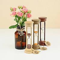 Часы песочные на 10 мин h=160 мм; Ø50 мм основание натуральное дерево песок коричневый тип 4 исп. 20 (300575)