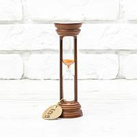 Часы песочные на 10 мин h=160 мм; Ø50 мм основание вишня песок оранжевый тип 4 исп. 20 (300572)