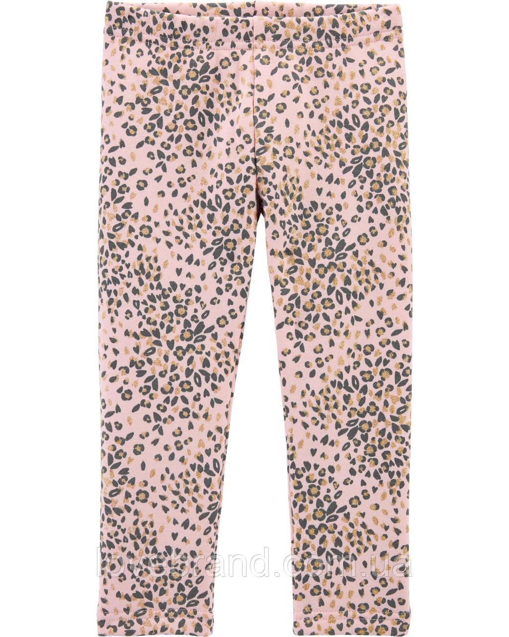 Утепленные детские лосины OshKosh для девочки,леопардовые теплые лосинки на флисе ошкош