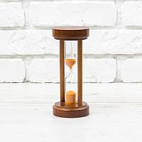 Часы песочные на 5 мин h=160 мм; Ø 70 мм основание вишня песок оранжевый тип 4 исп. 21 (300576)