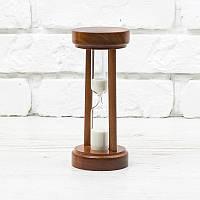 Часы песочные на 10 минут h=160 мм; Ø 70 мм основание вишня песок белый тип 4 исп. 22 (300529)