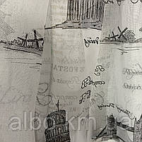 """Тюль батист с рисунком """"города"""" на метраж, высота 2.8 м, фото 3"""