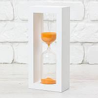 Часы песочные на 10 мин тип 4 исп. 27 200*50*90 мм основание белое песок оранжевый (300588)