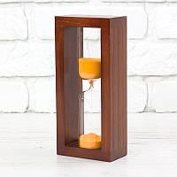 Часы песочные на 10 мин тип 4 исп. 27 200*50*90 мм основание вишня песок оранжевый (300587)