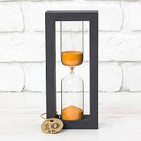 Часы песочные на 10 мин тип 4 исп. 27 200*50*90 мм основание черное песок оранжевый (300591)