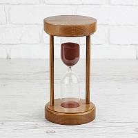 Часы песочные на 50 мин тип 4 исп.34 Ø 125; h=240 мм основание орех песок коричневый (300697)