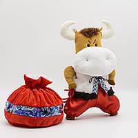 Бычок казачок, мягкая игрушка с мешком, Символ 2021, Подарки к Новому году