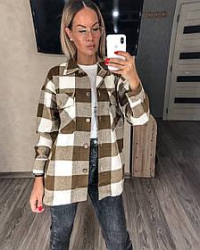 Теплая женская рубашка в клетку 11-341
