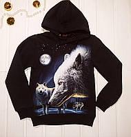Кофта с капюшоном утепленная для мальчика с принтом волка Светится в темноте 122 128