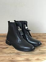 Женские кожаные демисезонные ботинки на низком ходу