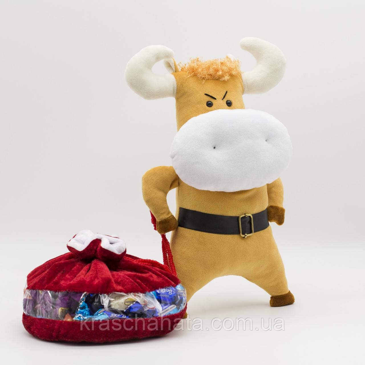 Бычок Саня, мягкая игрушка, 31 см, Символ года 2021