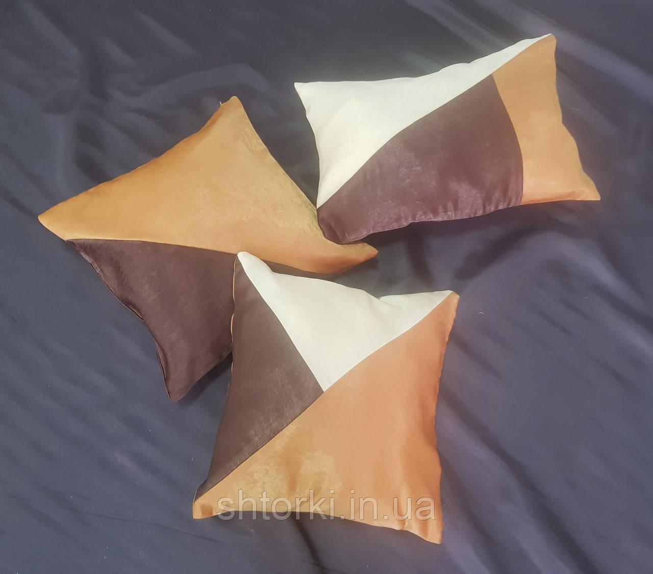 Комплект подушек Велюр коричневый, молочній, шоколад, 3шт