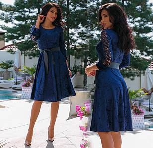 """Жіноче ошатне плаття до великих розмірів """"Велюр Рукава Перфо"""" в кольорах (80-1102)"""