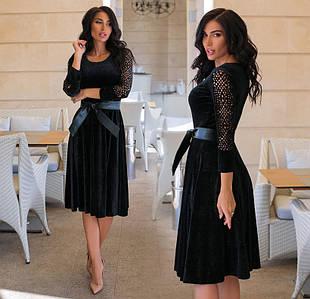 """Жіноче ошатне плаття до великих розмірів """"Велюр Хамелеон Рукава Перфо"""" (80-1102/1)"""