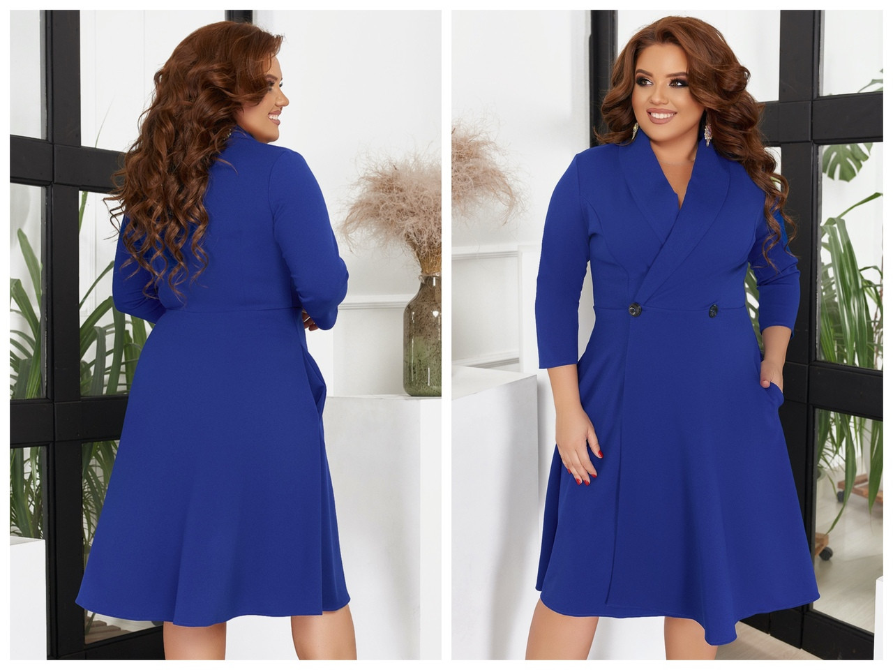 Женское платье большого размера на запах с пуговицами. Размеры:48/50,52/54,56/58,60/62  +Цвета