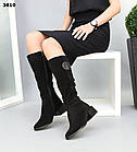 Зимние черные женские сапоги, натуральная замша, фото 4