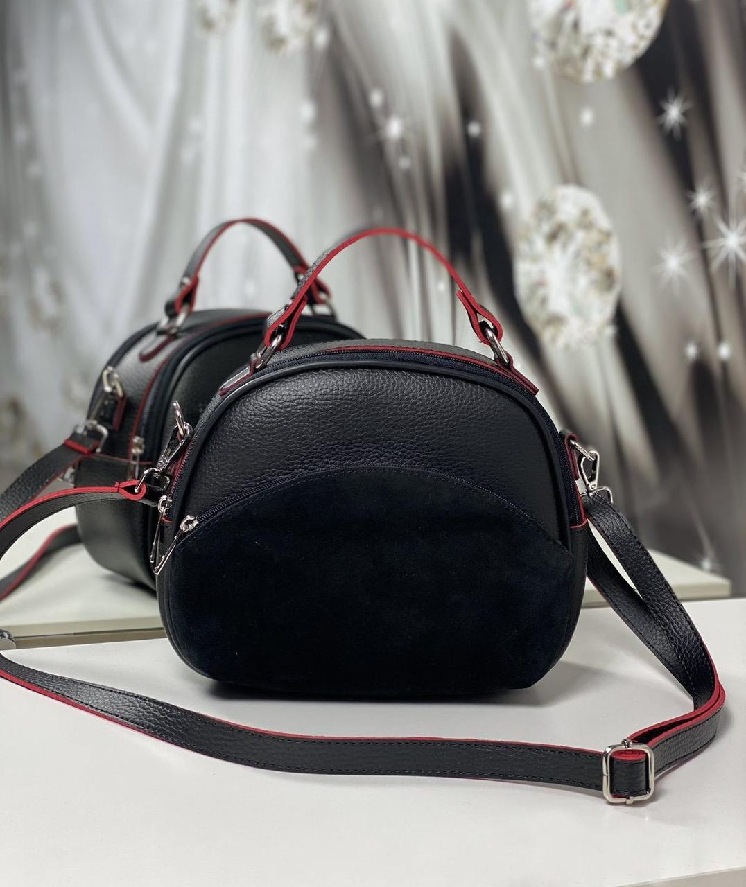 Полукруглая сумка через плечо небольшая женская стильня сумочка кроссбоди черная замша+кожзам