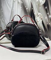 Полукруглая сумка через плечо небольшая женская стильня сумочка кроссбоди черная замша+кожзам, фото 1