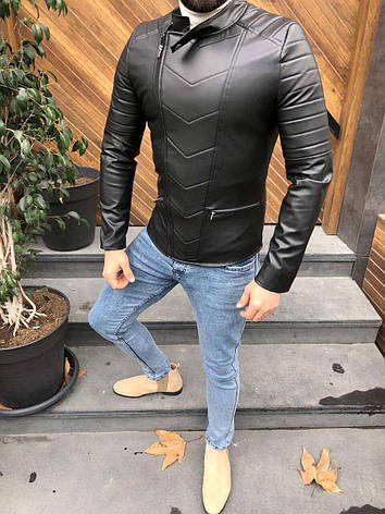Чоловіча шкіряна куртка/косуха Lines 5 розмірів, фото 2