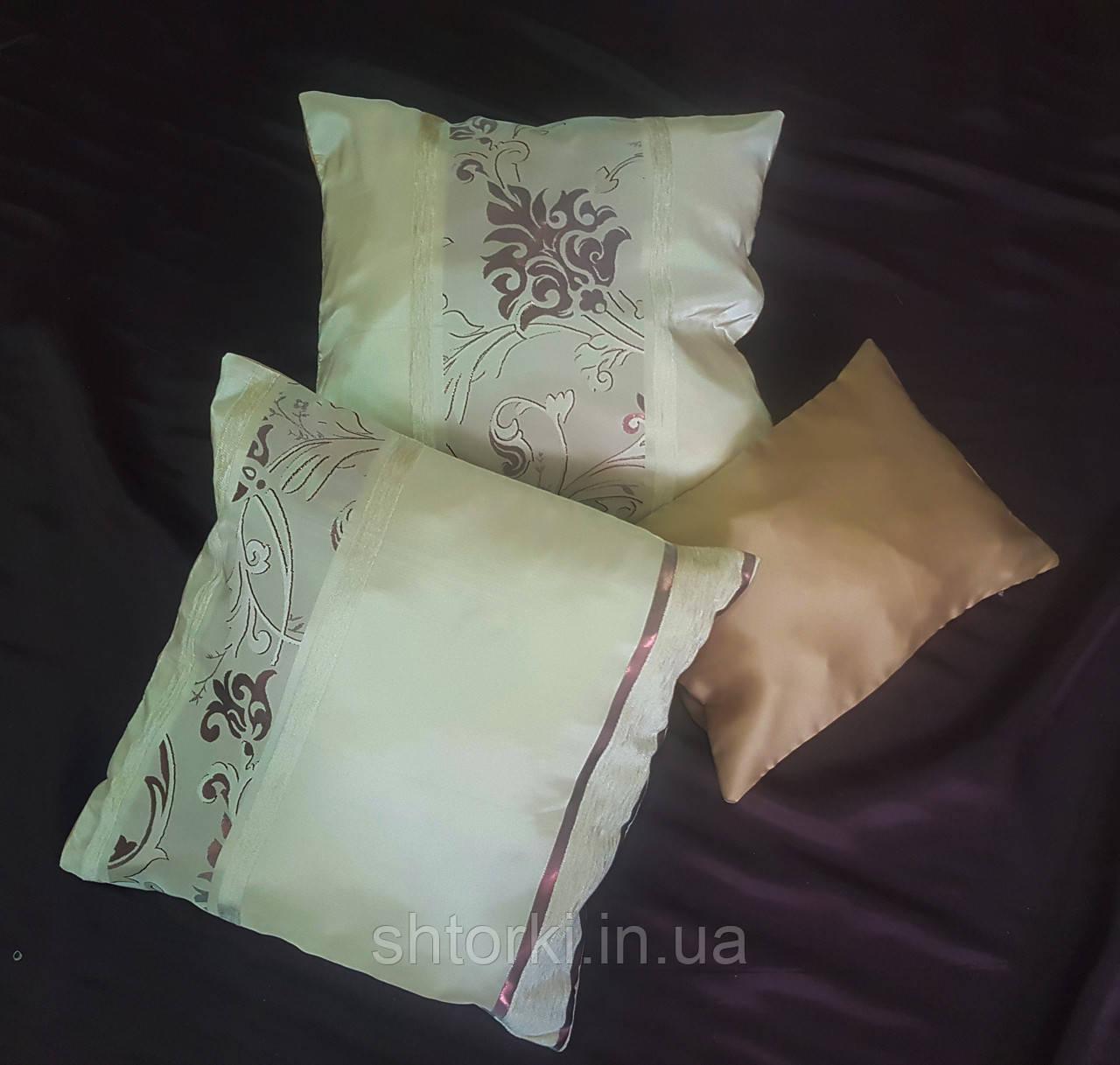 Комплект подушек тафта молочные с классическим рисунком, 3шт