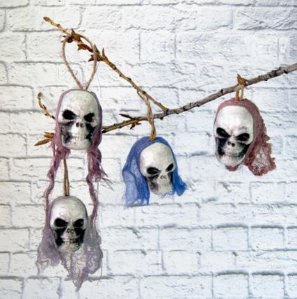 Набор декора подвесного Черепа ведьмы (4 шт) ABC Хэллоуин, фото 2