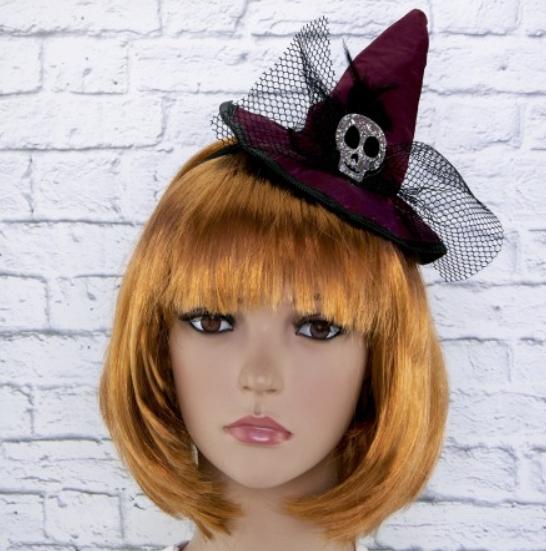 Шляпка на ободке Ведьмочки с Черепом ABC Хеллоуин
