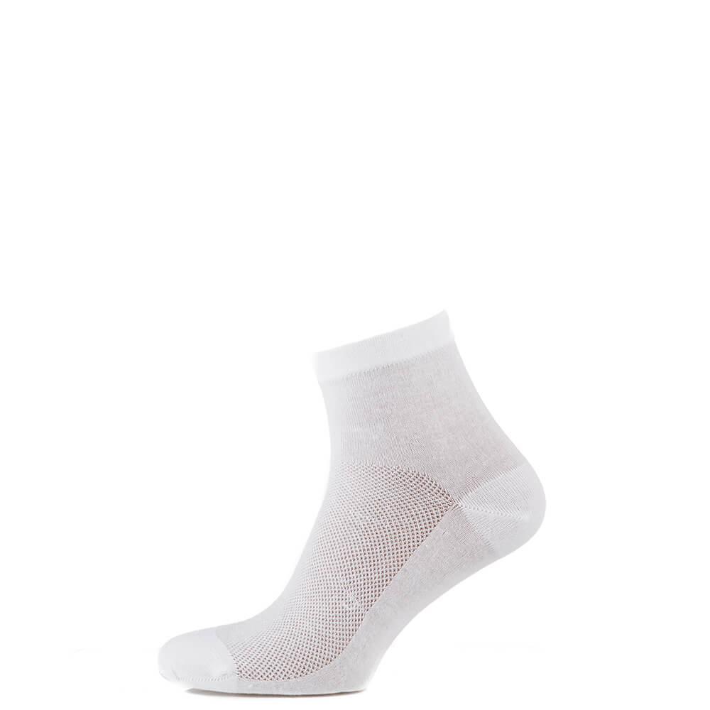 Носки средние из хлопка с сеткой, белый