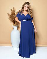 Вечернее длинное шифоновое платье большого размера синего цвета (M/L, L/XL, XL/XXL)
