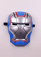 Карнавальная маска Железного Человека светящаяся синяя для мальчика