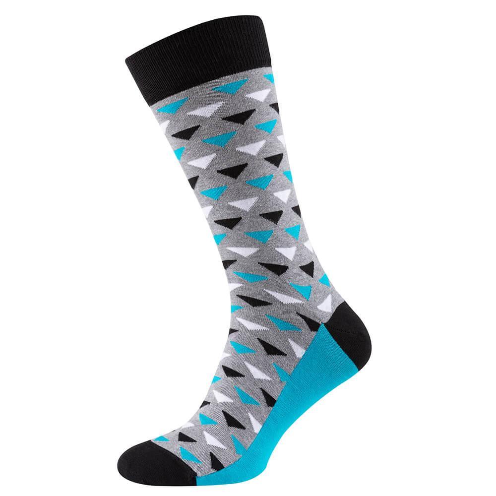 Шкарпетки чоловічі кольорові з бавовни, сіро-блакитний трикутник