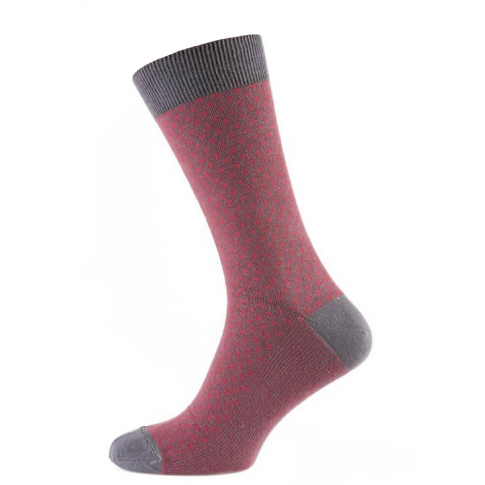 Носки мужские цветные из хлопка, красная сетка