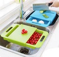 Разделочная доска 3 в 1 со съемным сливным лотком для кухонной раковины.
