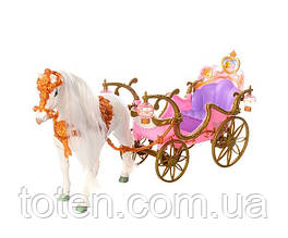 Карета игровая с лошадкой для кукол 209B ходит, аксессуары, звук, свет фонари, на бат-ке