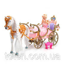 Карета игровая с лошадкой и куклой принцессой 209 А ходит, аксессуары, звук, свет фонари, на бат-ке