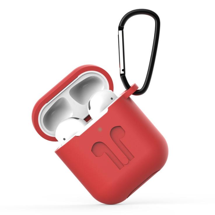 Силиконовый чехол с карабином для Apple AirPods 1/2, красный