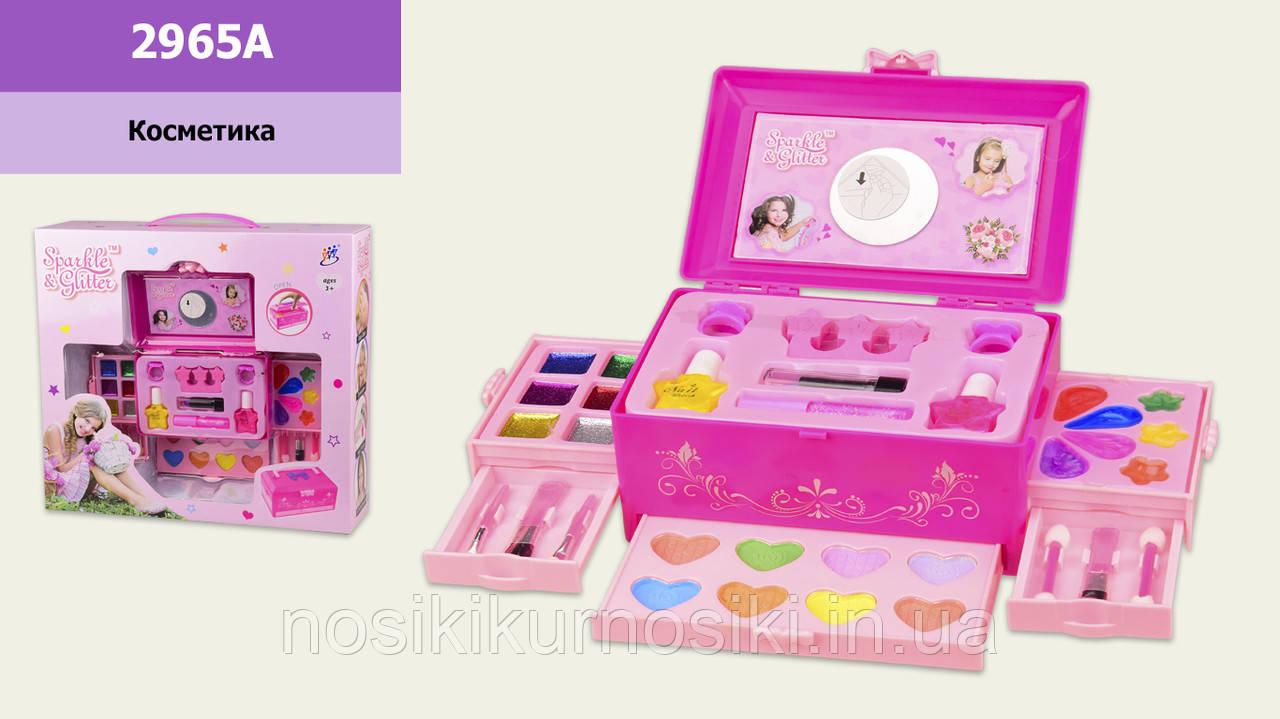 Игровой набор детская декоративная косметика 2965A - шкатулка косметичка, лаки, помада, тени румяна