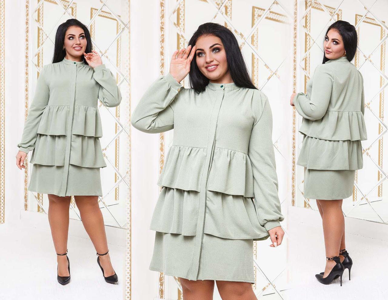 """Ошатне жіноче плаття до великих розмірів """"Лакост Волани"""" в кольорах (DG-с506)"""