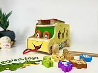 Развивающая деревянная игрушка машина-каталка. Сортёр. Ксилофон. Монтессори