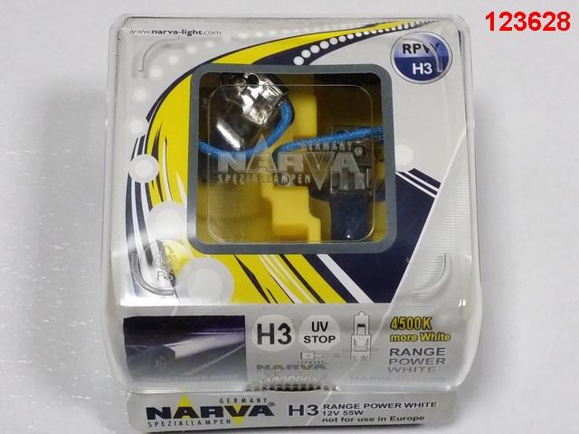 Лампа NARVA TWIN SET H3 12V 55W RANGE POWER WHITE (48602) (пара) синие